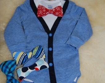 Blue cardigan bodysuit and bow tie set