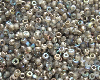 10 g Czech seed beads 8/0 etched graphite Rainbow