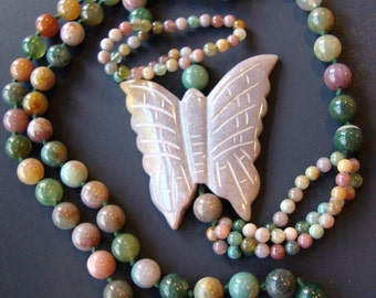 Vintage Natural Stone Beads Butterfly Long Necklace.
