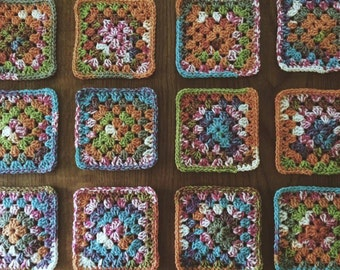 Set of two crochet coasters
