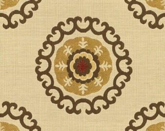 KRAVET ETHNIC CHIC Jacquard Suzani Medallions Motif Fabric 10 Yards Beige Brown