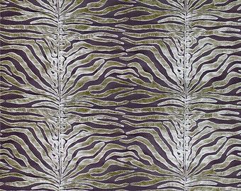SCALAMANDRE EL MOROCCO Zebra Cut Velvet Silk Fabric 5 Yards Cappuccino