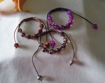 Mixed Friendship Bracelets - Brown and Purple