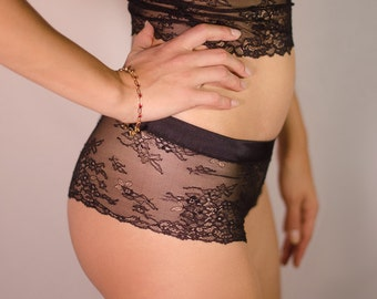 lace boyshorts with silk waistband