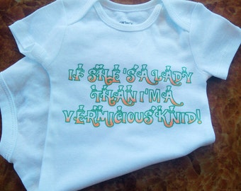 If Shes a lady Im a Vermicious Knid WILLY WONKA Inspired Onesie or Toddler Tee, Funny Baby Tees, Willy Wonka Shirt, Oompa Loompa Shirt,
