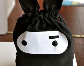 Cotton Ninja Bunny Drawstring Bag