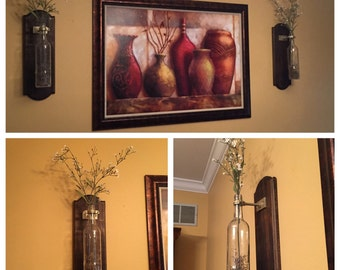 Wine Bottle Wall Vase. Wine Bottle Wall Sconce. Wine Bottle Wall Decor.