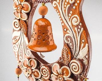 Good luck horseshoe bells-handmade ceramic horseshoe-handmade pottery-made tor order ceramic horseshoe-ceramic bells[CC-51]