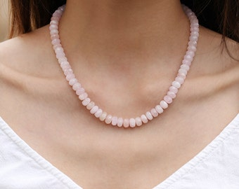 Pink Morganite Beaded Necklace, Genuine Morganite Gemstone Jewelry, 925 Sterling Silver and Cubic Zirconia Diamonds Clasp, Gift for Wife