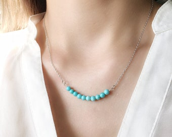 Boho Turquoise Choker Necklace, 925 Sterling Silver, Natural Gemstone, Bar Necklace, Modern & Minimalist Jewelry, December Birthstone