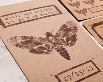 Pinned Moth Wedding Invitation - Invite Suite sample