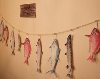 Fishing Party Graphics / Watercolor Fish Prints / Fish Cake Banner