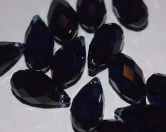 Dark Indigo Swarovski 6010 Teardrop Pendants,  Briolette Blue Crystal Beads 13mm