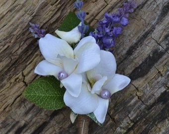 Wedding buttonhole,corsage  ivory orchid, Purple lavender