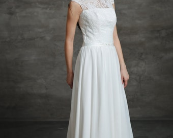 Boho A-Line Vintage Inspired Chiffon Wedding Dress with Illusion Neckline, Lace Corset, Swarovski Crystal Belt, Open Back