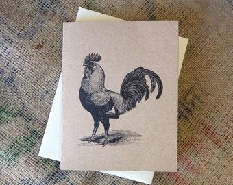 Rooster Greeting Card  |  Vintage Rooster Greeting Card  |  Blank Greeting Card  | Blank Note Card