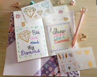 Gold Diamond tattoo/planner stickers - a set of 4 sheets