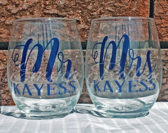 Wedding glass, Wedding Toast, Mr & Mrs, Personalised, Stemless, Wine, Beer, champagne Glass