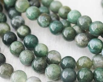 Moss Agate 8mm Round Natural Gemstone Yoga Jewelry Supply Green Beads