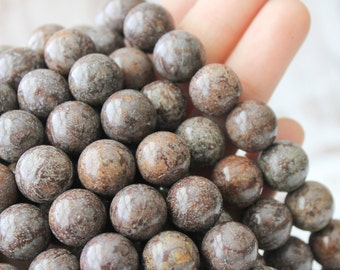 12mm Round Beads, Brown Snowflake Jasper, Gemstone Beads, Large Gemstone, Natural Beads, Brown Beads, Jasper 12mm