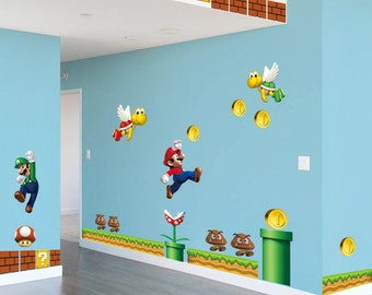Super mario decal etsy - Mario wall clings ...