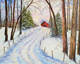 Winter Landscape - Snow Painting - Barn Painting - Forest Print - Red Barn - Tree Painting - Nature Art Print - Matted Print