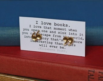 Earrings - Quotation / Speech Marks - Gold -  Grammar - Punctuation - Book Lover Gift - Teacher - Student - Exclusive - Handmade - Quirky