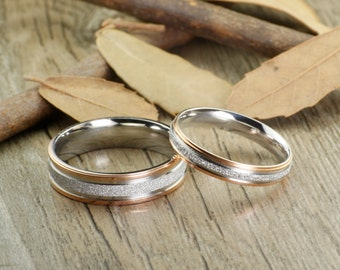 His and Her Promise Rings - Rose Gold  Wedding Titanium Rings Set