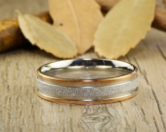 ANNIVERSARY RING - Rose Gold  Titanium Rings 6mm width