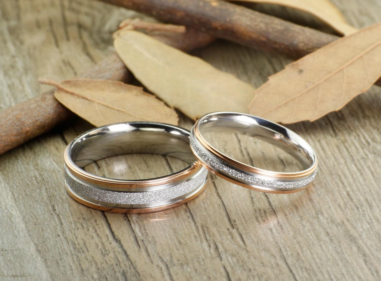 Handmade Rose Gold Matching Wedding Bands Couple Rings Set
