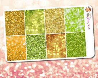 August / Green & Gold Yellow Glitter and Bokeh Full Box Planner Stickers (Erin Condren Life Planner Monthly Colors)