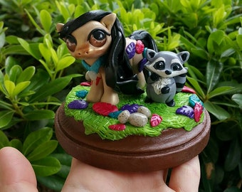 Disney Pocahontas Pony Polymer clay figure//gifts for her//Disney fans//racoon//fantasy//collectible//FREE US shipping code FREESHIPUS