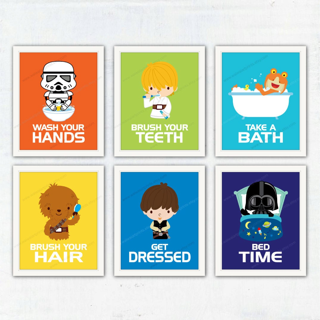 Star Wars Nursery Art Prints. Bathroom Wall Decor. Wash Your Hands, Brush  Your