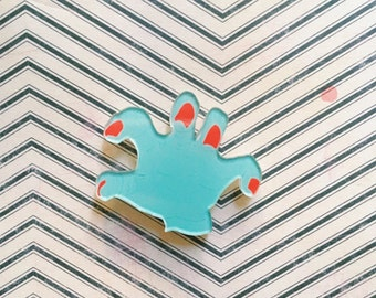 Zombie Blue Hand Brooch // Pin // walking dead pin