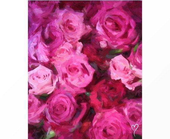 "Original Rose Art, Signed Fine Art Print, Home Decor, Flower Art, Wall Decor ""Pink and Violet Roses"""