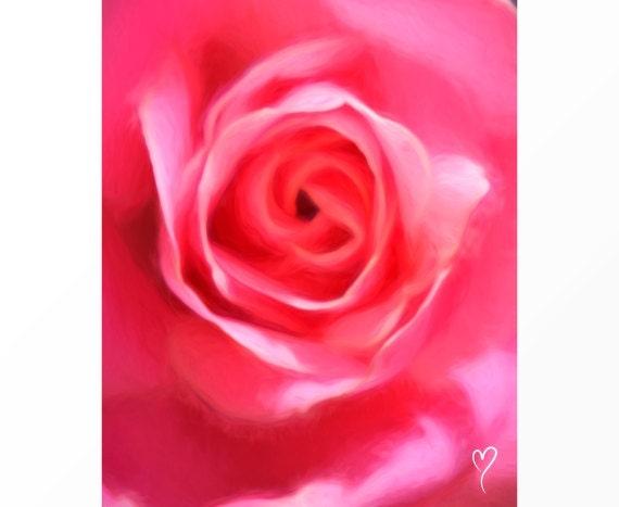 "Rose Art, Flower Art Center of a Pink Rose, Home Decor, Gift for Mom, Pink Flower Print ""Warm Sunshine"""