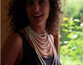 Collier perles eau douce naturelle gatsby mariée classique fait main multi-rang vermeil ras-du-cou ajustable 3 façons elegance intemporelle