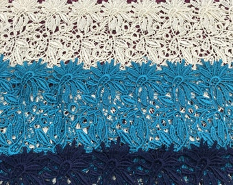 "Guipure Lace Fabric By The Yard 48""/50"" - Blue, Green, Ivory, White, Silver, Teal, Red, Pink, Purple, Turquoise, Navy, Black"