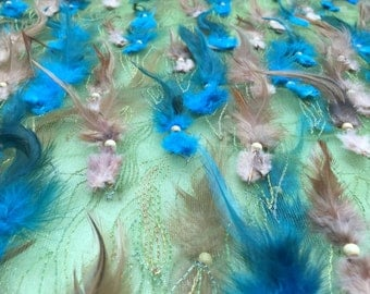 """Exotic Teal Feather Fabric By The Yard 58""""/60"""""""