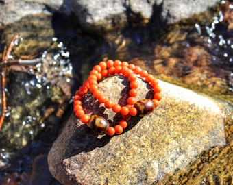 Tibetan 3 Eyed Dzi Bead and Natural Coral Bracelets