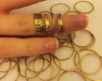 Stacking rings, super thin 1mm diamond cut design gold overlay ring