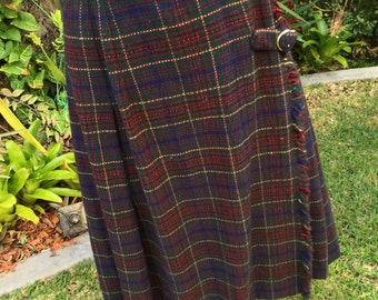 Vintage Italian Blue and Plum Check Skirt/Kilt with Gold Buckle Size 10
