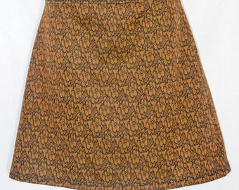 Vintage 1970s Brown Printed Flare Skirt (S-M)