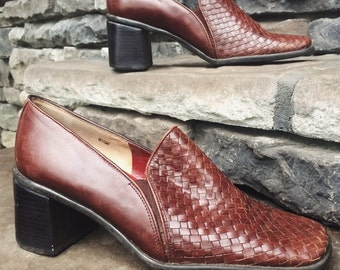 Vintage Nicole Chunky Heel Loafers   90's Woven Loafers   Basket Weave Slip Ons   Size 8.5