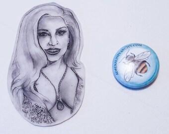 Hand drawn LADY GAGA Grammy's 2015 pin.