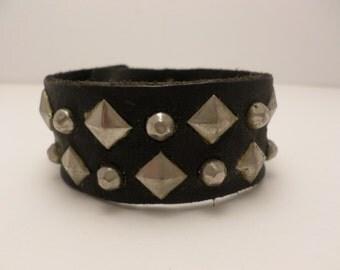 Vintage 80's black leather punk rock pyramid studded cuff bracelet