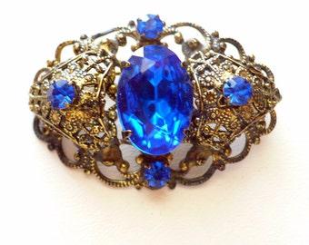 Vintage Cobalt Blue Rhinestone Filigree Brass Pin Brooch