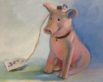 Babe Figurine Oil Painting, Pig Painting, Pig Art