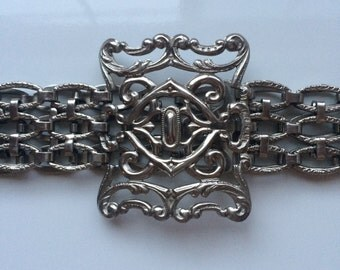 Rare vintage silver plated ornate belt antique belt