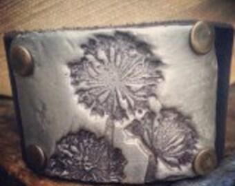 Dandelion Cuff Bracelet Leather Cuff Black Leather Bracelet